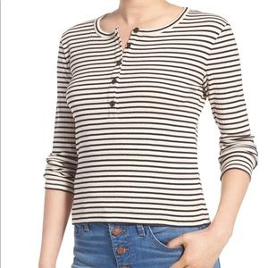 Madewell Striped Henley Tee SZ small